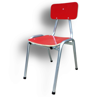 Silla Escolar en metal y plywood enchapada