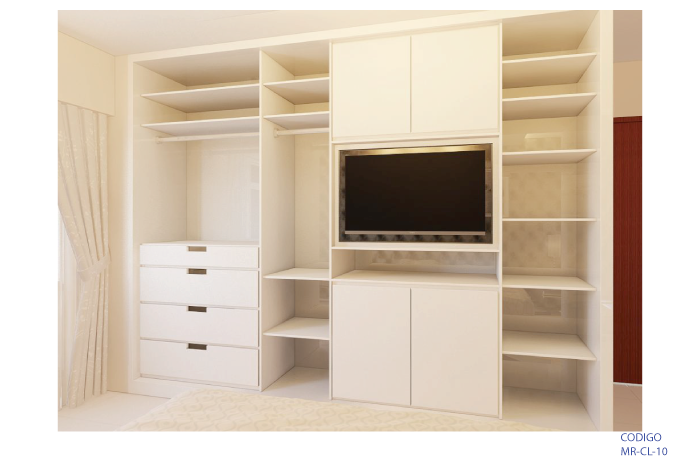 Closet con espacio para TV incorporado
